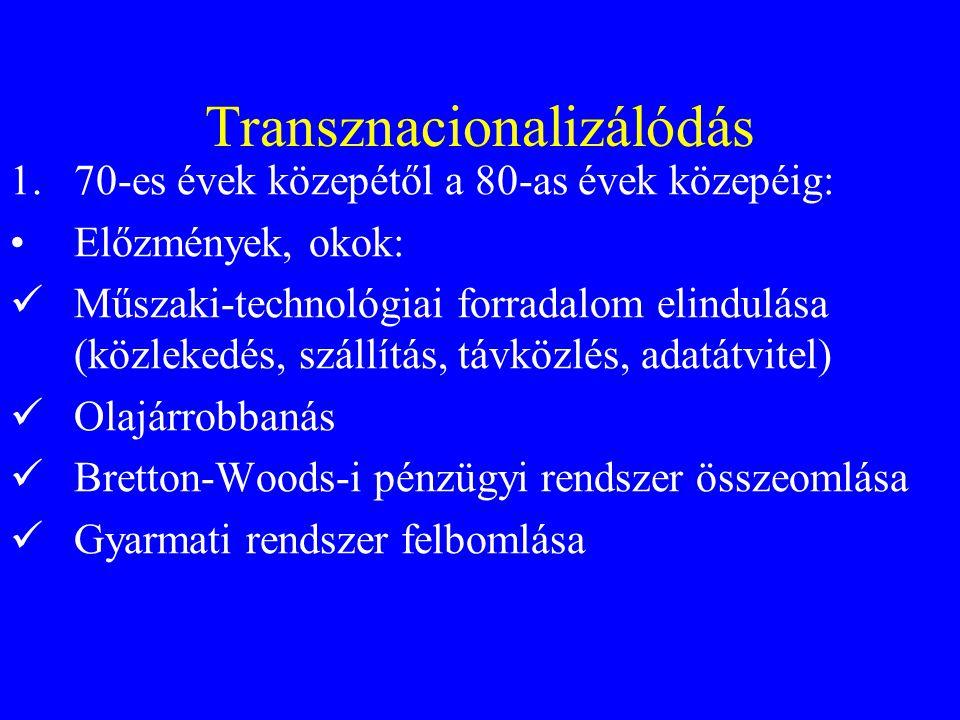 Transznacionalizálódás 1.70-es évek közepétől a 80-as évek közepéig: Előzmények, okok: Műszaki-technológiai forradalom elindulása (közlekedés, szállítás, távközlés, adatátvitel) Olajárrobbanás Bretton-Woods-i pénzügyi rendszer összeomlása Gyarmati rendszer felbomlása