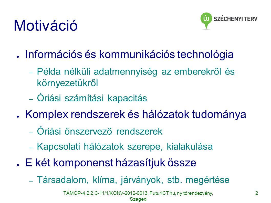 3 Alprojektek ● Magyar hub erősségei – Hálózatelmélet és alkalmazásai – adatkinyerés és - bányászat és elosztott adatfeldolgozás – Adatvédelem, etika ● Az alprojektek ezekre épülnek