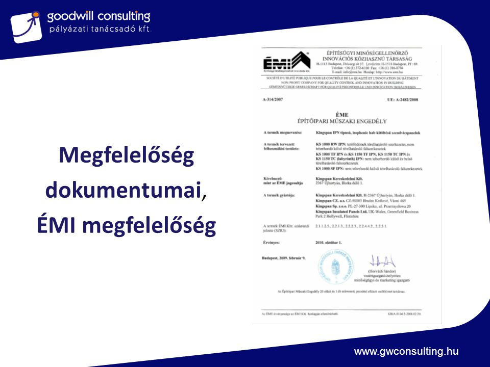 www.gwconsulting.hu Megfelelőség dokumentumai, ÉMI megfelelőség