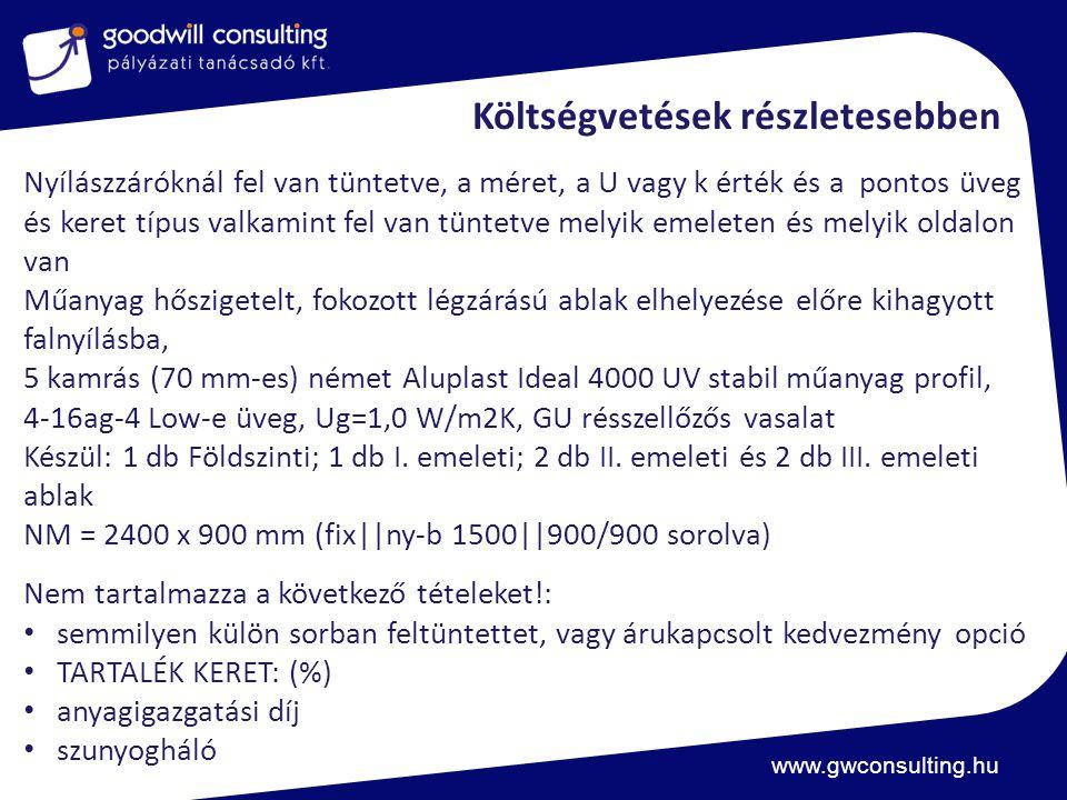 www.gwconsulting.hu Költségvetések részletesebben Nyílászzáróknál fel van tüntetve, a méret, a U vagy k érték és a pontos üveg és keret típus valkamint fel van tüntetve melyik emeleten és melyik oldalon van Műanyag hőszigetelt, fokozott légzárású ablak elhelyezése előre kihagyott falnyílásba, 5 kamrás (70 mm-es) német Aluplast Ideal 4000 UV stabil műanyag profil, 4-16ag-4 Low-e üveg, Ug=1,0 W/m2K, GU résszellőzős vasalat Készül: 1 db Földszinti; 1 db I.
