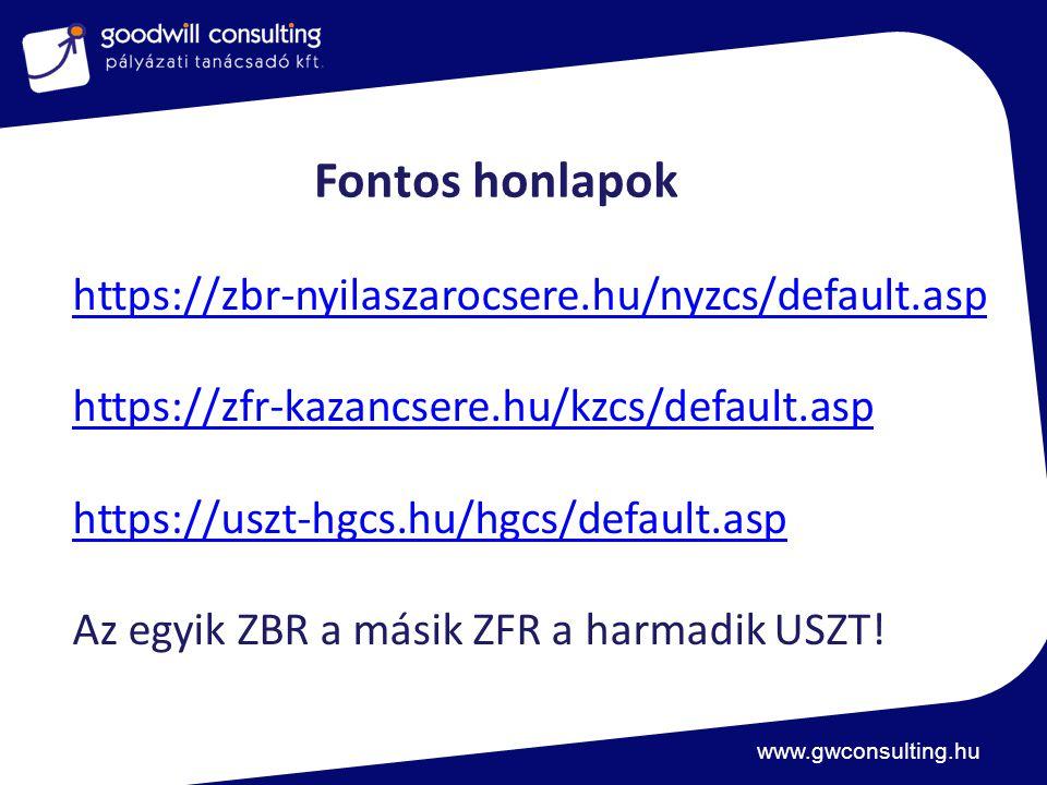 www.gwconsulting.hu Fontos honlapok https://zbr-nyilaszarocsere.hu/nyzcs/default.asp https://zfr-kazancsere.hu/kzcs/default.asp https://uszt-hgcs.hu/hgcs/default.asp Az egyik ZBR a másik ZFR a harmadik USZT!