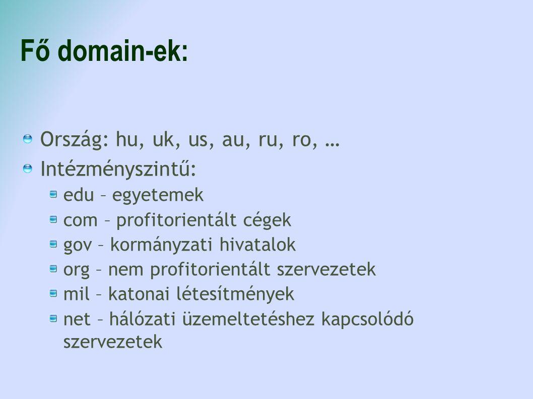 Fő domain-ek: Ország: hu, uk, us, au, ru, ro, … Intézményszintű: edu – egyetemek com – profitorientált cégek gov – kormányzati hivatalok org – nem pro