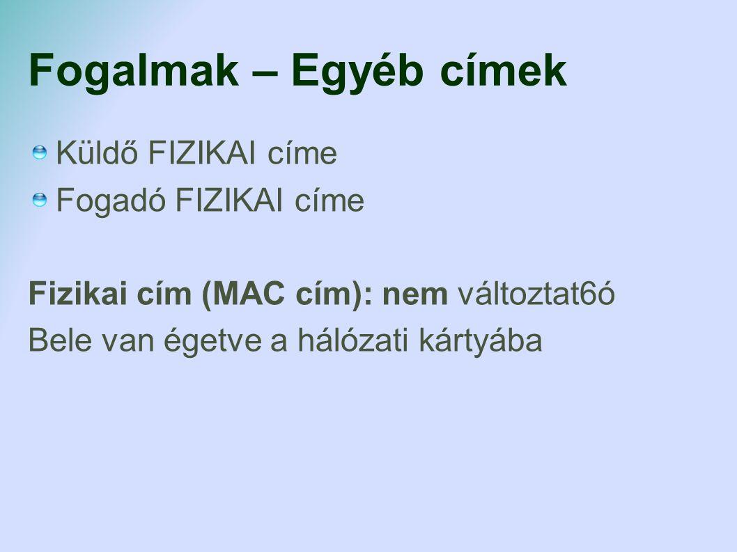 Fogalmak – Egyéb címek Küldő FIZIKAI címe Fogadó FIZIKAI címe Fizikai cím (MAC cím): nem változtat6ó Bele van égetve a hálózati kártyába