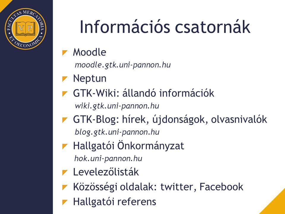 Információs csatornák Moodle moodle.gtk.uni-pannon.hu Neptun GTK-Wiki: állandó információk wiki.gtk.uni-pannon.hu GTK-Blog: hírek, újdonságok, olvasnivalók blog.gtk.uni-pannon.hu Hallgatói Önkormányzat hok.uni-pannon.hu Levelezőlisták Közösségi oldalak: twitter, Facebook Hallgatói referens