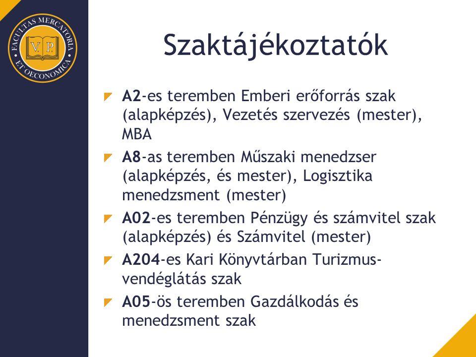 Szaktájékoztatók A2-es teremben Emberi erőforrás szak (alapképzés), Vezetés szervezés (mester), MBA A8-as teremben Műszaki menedzser (alapképzés, és mester), Logisztika menedzsment (mester) A02-es teremben Pénzügy és számvitel szak (alapképzés) és Számvitel (mester) A204-es Kari Könyvtárban Turizmus- vendéglátás szak A05-ös teremben Gazdálkodás és menedzsment szak