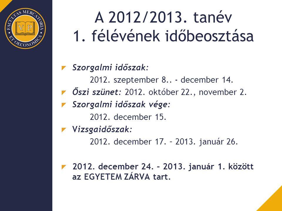 A 2012/2013.tanév 1. félévének időbeosztása Szorgalmi időszak: 2012.