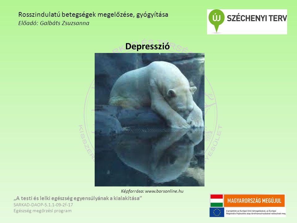 """Depresszió """"A testi és lelki egészség egyensúlyának a kialakítása SARKAD-DAOP-5.1.1-09-2f-17 Egészség megőrzési program Rosszindulatú betegségek megelőzése, gyógyítása Előadó: Galbáts Zsuzsanna Képforrása: www.borsonline.hu"""