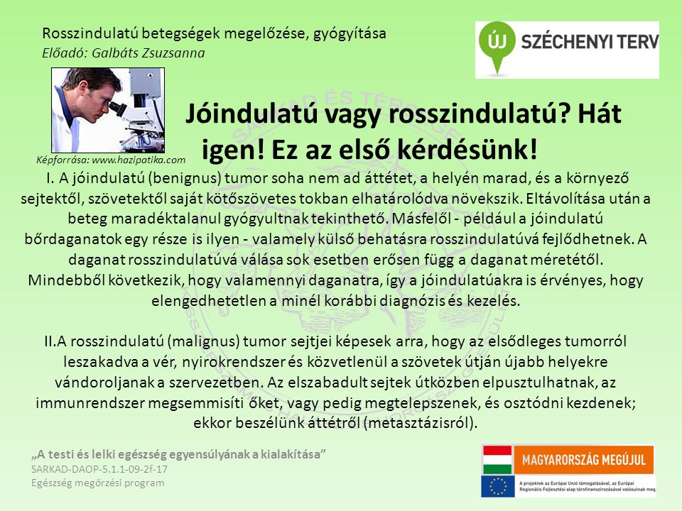 """Képforrása: www.springmed.hu """"A testi és lelki egészség egyensúlyának a kialakítása SARKAD-DAOP-5.1.1-09-2f-17 Egészség megőrzési program Rosszindulatú betegségek megelőzése, gyógyítása Előadó: Galbáts Zsuzsanna"""