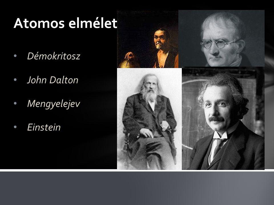 Atomos elmélet Démokritosz John Dalton Mengyelejev Einstein