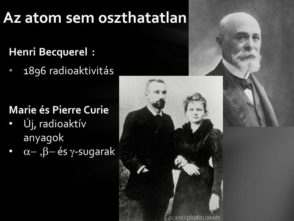 Henri Becquerel : 1896 radioaktivitás Az atom sem oszthatatlan Marie és Pierre Curie Új, radioaktív anyagok  és  -sugarak