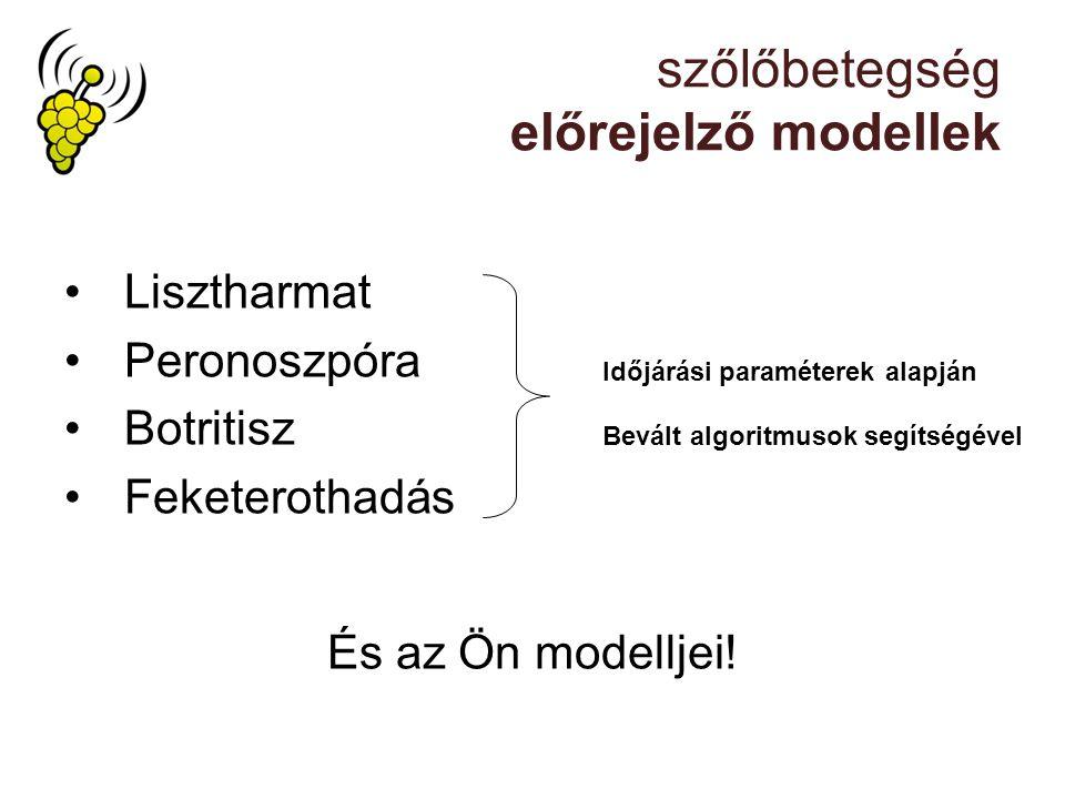 szőlőbetegség előrejelző modellek Lisztharmat Peronoszpóra Botritisz Feketerothadás Időjárási paraméterek alapján Bevált algoritmusok segítségével És az Ön modelljei!