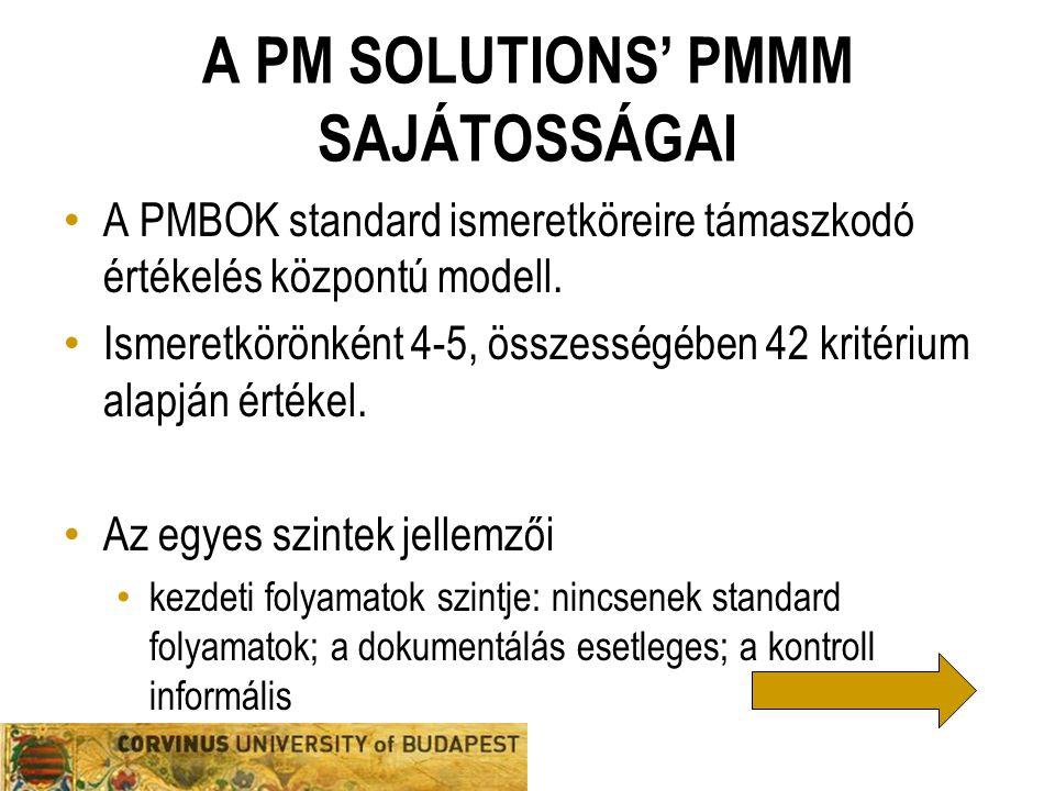 A PM SOLUTIONS' PMMM SAJÁTOSSÁGAI A PMBOK standard ismeretköreire támaszkodó értékelés központú modell. Ismeretkörönként 4-5, összességében 42 kritéri
