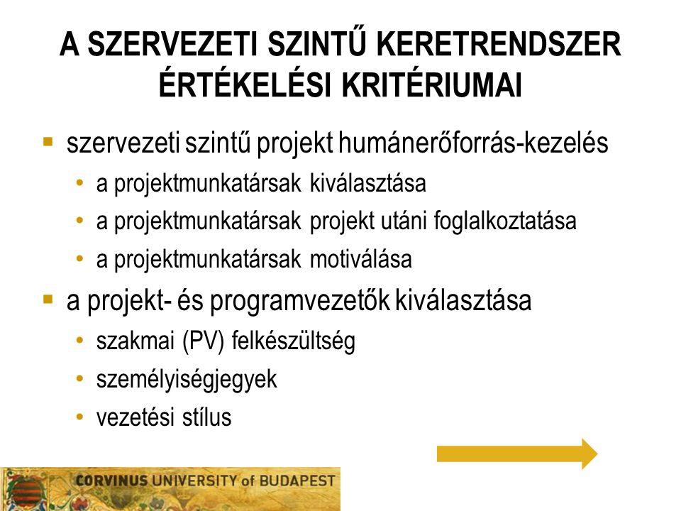 A SZERVEZETI SZINTŰ KERETRENDSZER ÉRTÉKELÉSI KRITÉRIUMAI  szervezeti szintű projekt humánerőforrás-kezelés a projektmunkatársak kiválasztása a projek