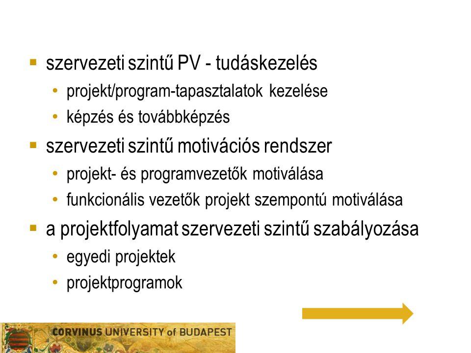  szervezeti szintű PV - tudáskezelés projekt/program-tapasztalatok kezelése képzés és továbbképzés  szervezeti szintű motivációs rendszer projekt- é