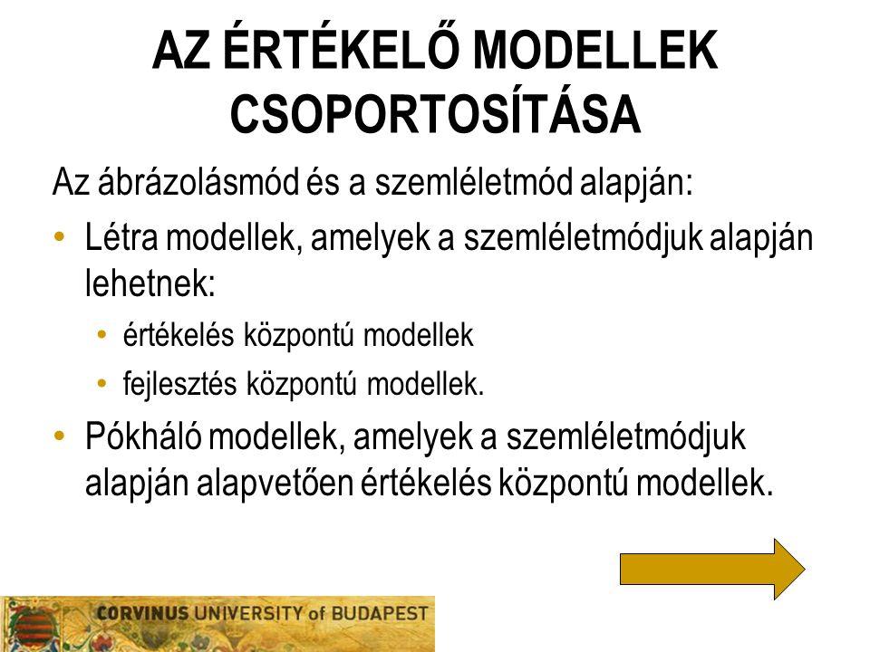 AZ ÉRTÉKELŐ MODELLEK CSOPORTOSÍTÁSA Az ábrázolásmód és a szemléletmód alapján: Létra modellek, amelyek a szemléletmódjuk alapján lehetnek: értékelés k