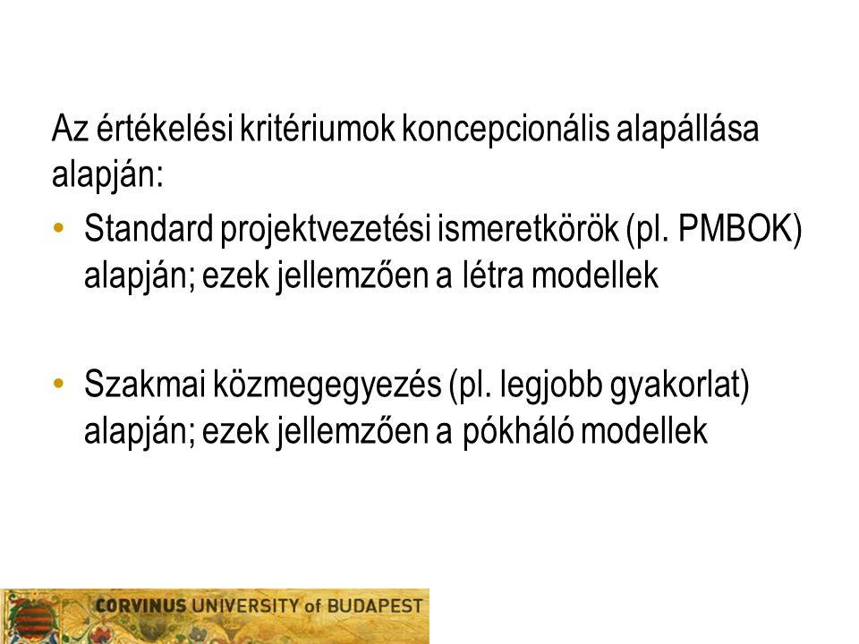 Az értékelési kritériumok koncepcionális alapállása alapján: Standard projektvezetési ismeretkörök (pl. PMBOK) alapján; ezek jellemzően a létra modell
