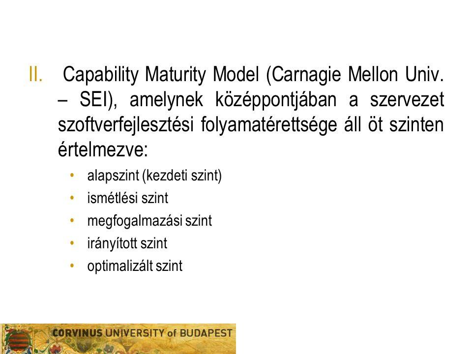 II. Capability Maturity Model (Carnagie Mellon Univ. – SEI), amelynek középpontjában a szervezet szoftverfejlesztési folyamatérettsége áll öt szinten