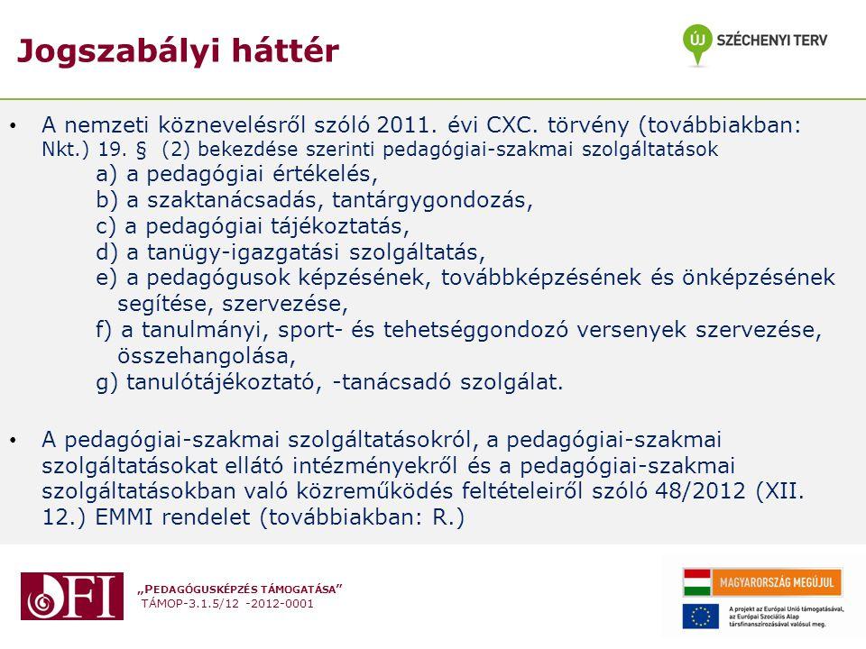 """""""P EDAGÓGUSKÉPZÉS TÁMOGATÁSA TÁMOP-3.1.5/12 -2012-0001 Jogszabályi háttér A nemzeti köznevelésről szóló 2011."""