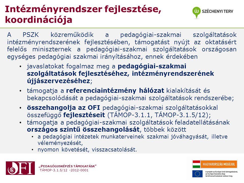 """""""P EDAGÓGUSKÉPZÉS TÁMOGATÁSA TÁMOP-3.1.5/12 -2012-0001 Intézményrendszer fejlesztése, koordinációja A PSZK közreműködik a pedagógiai-szakmai szolgáltatások intézményrendszerének fejlesztésében, támogatást nyújt az oktatásért felelős miniszternek a pedagógiai-szakmai szolgáltatások országosan egységes pedagógiai szakmai irányításához, ennek érdekében javaslatokat fogalmaz meg a pedagógiai-szakmai szolgáltatások fejlesztéséhez, intézményrendszerének újjászervezéséhez; támogatja a referenciaintézmény hálózat kialakítását és bekapcsolódását a pedagógiai-szakmai szolgáltatások rendszerébe; összehangolja az OFI pedagógiai-szakmai szolgáltatásokkal összefüggő fejlesztéseit (TÁMOP-3.1.1, TÁMOP-3.1.5/12); támogatja a pedagógiai-szakmai szolgáltatások feladatellátásának országos szintű összehangolását, többek között a pedagógiai intézetek munkaterveinek szakmai jóváhagyását, illetve véleményezését, nyomon követését, visszacsatolását."""