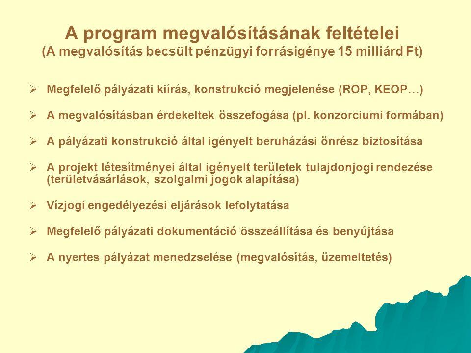 A program megvalósításának feltételei (A megvalósítás becsült pénzügyi forrásigénye 15 milliárd Ft)   Megfelelő pályázati kiírás, konstrukció megjelenése (ROP, KEOP…)   A megvalósításban érdekeltek összefogása (pl.
