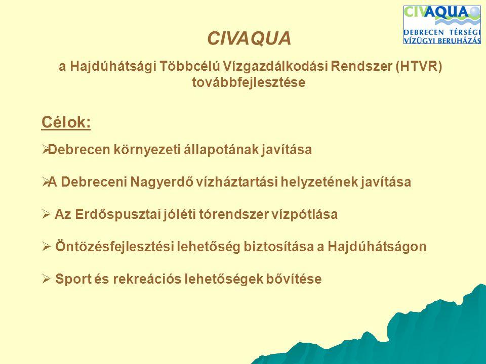 CIVAQUA a Hajdúhátsági Többcélú Vízgazdálkodási Rendszer (HTVR) továbbfejlesztése A program céljai:Célok:  Debrecen környezeti állapotának javítása  A Debreceni Nagyerdő vízháztartási helyzetének javítása  Az Erdőspusztai jóléti tórendszer vízpótlása  Öntözésfejlesztési lehetőség biztosítása a Hajdúhátságon  Sport és rekreációs lehetőségek bővítése