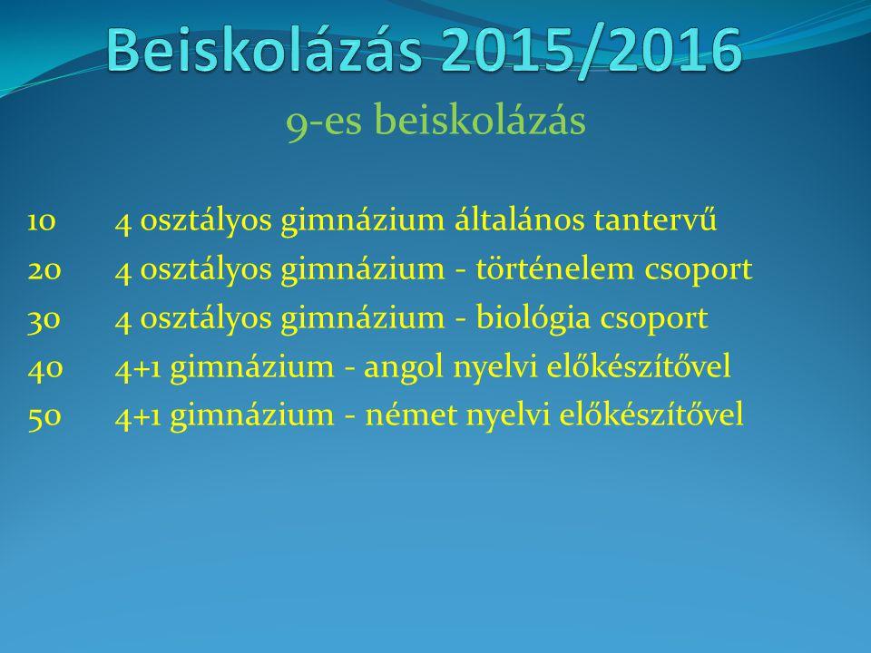 9-es beiskolázás 104 osztályos gimnázium általános tantervű 204 osztályos gimnázium - történelem csoport 304 osztályos gimnázium - biológia csoport 40