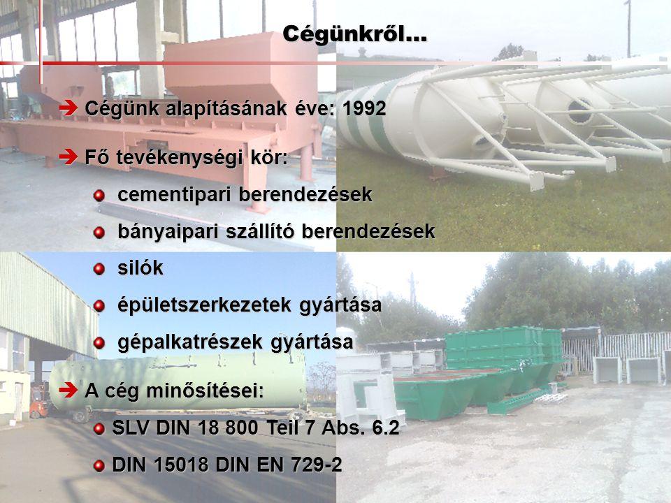 Cégünkről…  Cégünk alapításának éve: 1992  Fő tevékenységi kör: cementipari berendezések cementipari berendezések bányaipari szállító berendezések b