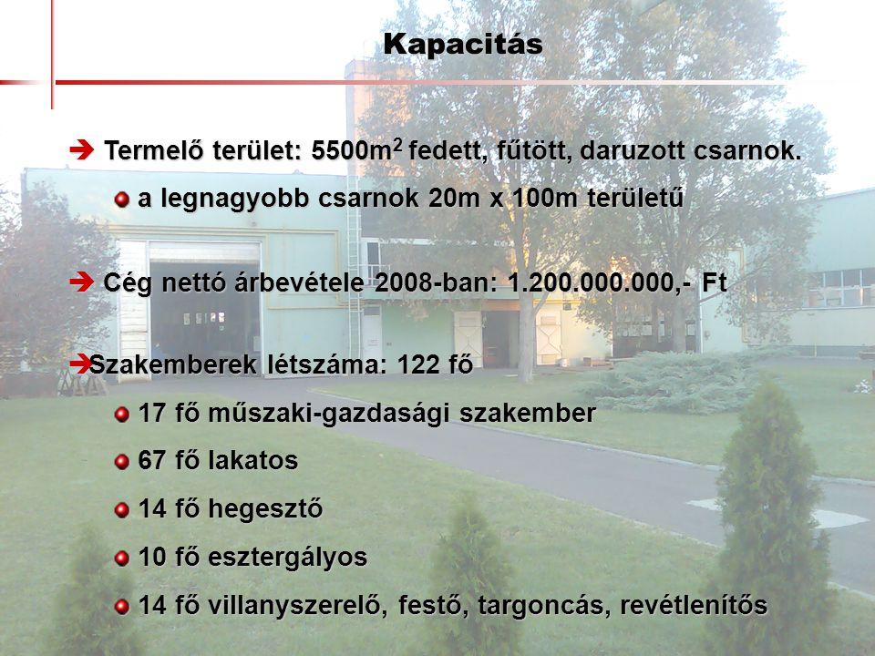 Kapacitás  Termelő terület: 5500m 2 fedett, fűtött, daruzott csarnok. a legnagyobb csarnok 20m x 100m területű a legnagyobb csarnok 20m x 100m terüle