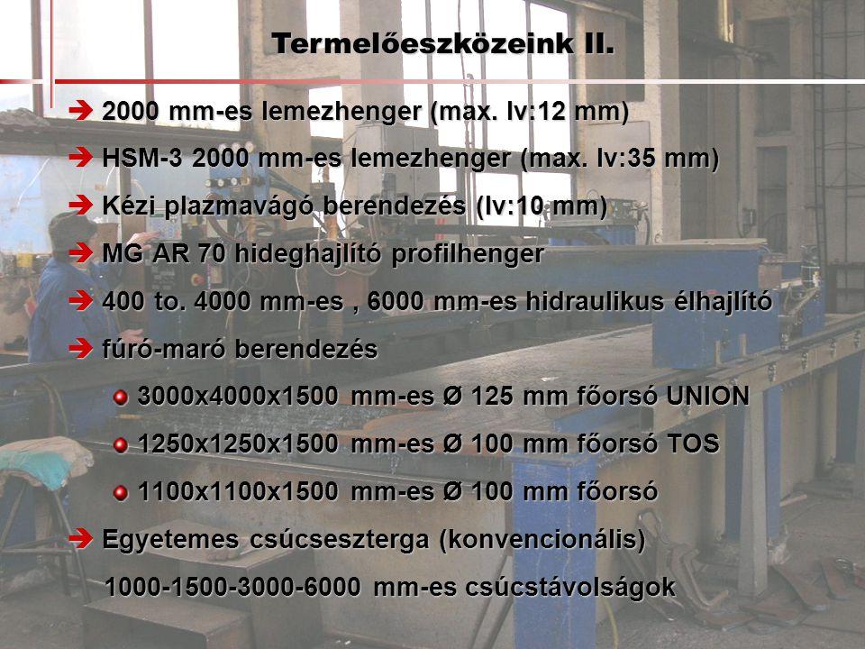  2000 mm-es lemezhenger (max. lv:12 mm)  HSM-3 2000 mm-es lemezhenger (max. lv:35 mm)  Kézi plazmavágó berendezés (lv:10 mm)  MG AR 70 hideghajlít