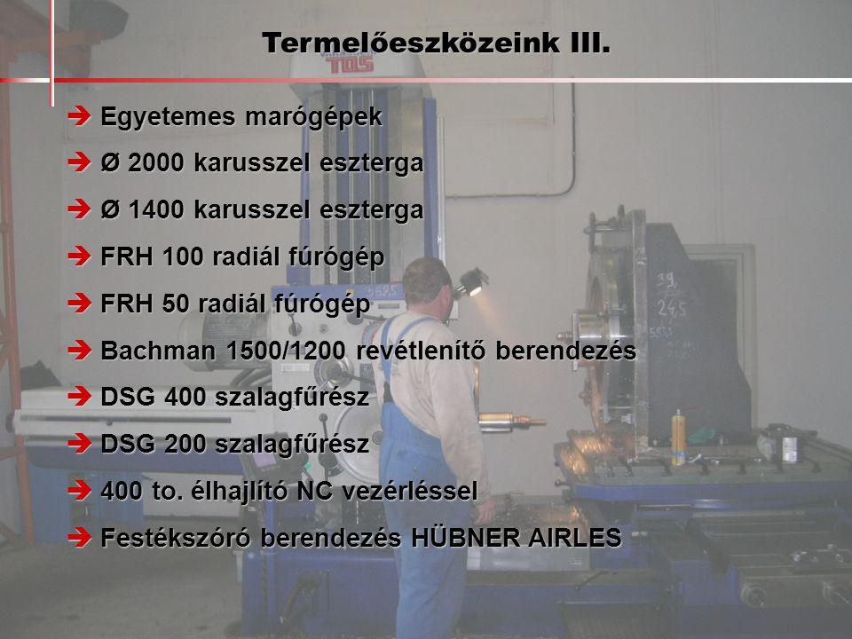 Termelőeszközeink III.  Egyetemes marógépek  Ø 2000 karusszel eszterga  Ø 1400 karusszel eszterga  FRH 100 radiál fúrógép  FRH 50 radiál fúrógép
