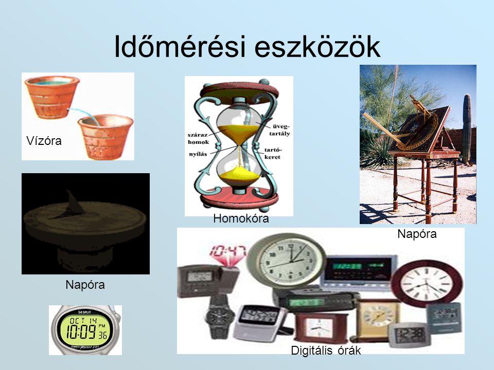 Időmérési eszközök Homokóra Napóra Vízóra Digitális órák
