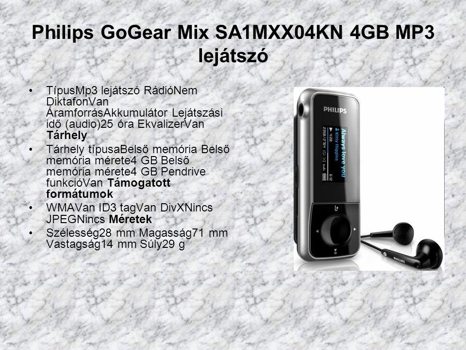 Philips GoGear Mix SA1MXX04KN 4GB MP3 lejátszó TípusMp3 lejátszó RádióNem DiktafonVan ÁramforrásAkkumulátor Lejátszási idő (audio)25 óra EkvalizerVan Tárhely Tárhely típusaBelső memória Belső memória mérete4 GB Belső memória mérete4 GB Pendrive funkcióVan Támogatott formátumok WMAVan ID3 tagVan DivXNincs JPEGNincs Méretek Szélesség28 mm Magasság71 mm Vastagság14 mm Súly29 g