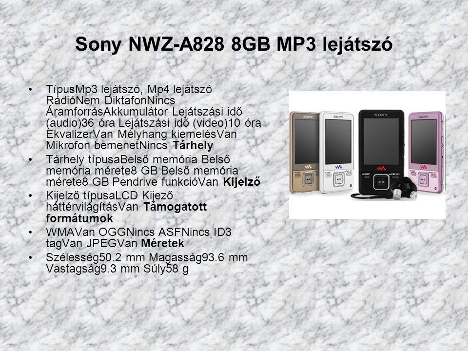 Sony NWZ-A828 8GB MP3 lejátszó TípusMp3 lejátszó, Mp4 lejátszó RádióNem DiktafonNincs ÁramforrásAkkumulátor Lejátszási idő (audio)36 óra Lejátszási idő (video)10 óra EkvalizerVan Mélyhang kiemelésVan Mikrofon bemenetNincs Tárhely Tárhely típusaBelső memória Belső memória mérete8 GB Belső memória mérete8 GB Pendrive funkcióVan Kijelző Kijelző típusaLCD Kijező háttérvilágításVan Támogatott formátumok WMAVan OGGNincs ASFNincs ID3 tagVan JPEGVan Méretek Szélesség50.2 mm Magasság93.6 mm Vastagság9.3 mm Súly58 g