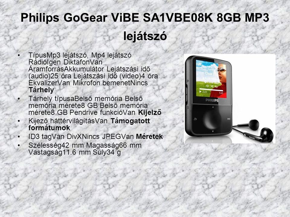 Philips GoGear ViBE SA1VBE08K 8GB MP3 lejátszó TípusMp3 lejátszó, Mp4 lejátszó RádióIgen DiktafonVan ÁramforrásAkkumulátor Lejátszási idő (audio)25 óra Lejátszási idő (video)4 óra EkvalizerVan Mikrofon bemenetNincs Tárhely Tárhely típusaBelső memória Belső memória mérete8 GB Belső memória mérete8 GB Pendrive funkcióVan Kijelző Kijező háttérvilágításVan Támogatott formátumok ID3 tagVan DivXNincs JPEGVan Méretek Szélesség42 mm Magasság66 mm Vastagság11.6 mm Súly34 g