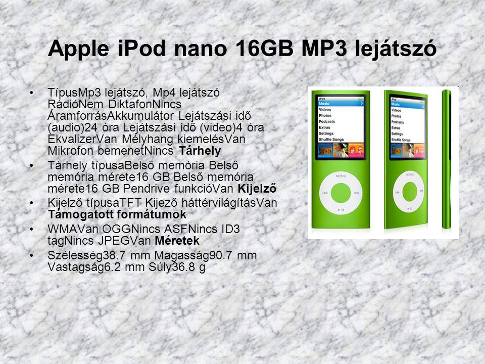 Apple iPod classic 160GB MP3 lejátszó TípusMp3 lejátszó, Mp4 lejátszó RádióNem DiktafonNincs ÁramforrásAkkumulátor Lejátszási idő (audio)36 óra Lejátszási idő (video)6 óra EkvalizerVan Mélyhang kiemelésVan Beépített hangszóróNincs Tárhely Tárhely típusaBelső merevlemez Belső memória mérete160 GB Belső memória mérete160 GB Pendrive funkcióVan Kijelző Kijelző típusaLCD Támogatott formátumok WMAVan OGGNincs ASFNincs ID3 tagVan DivXNincs JPEGVan Méretek Szélesség61.8 mm Magasság103.5 mm Vastagság13.5 mm Súly162 g