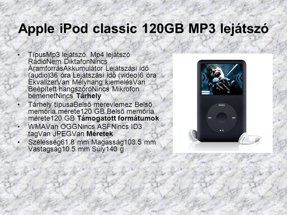 Apple iPod nano 4GB MP3 lejátszó TípusMp3 lejátszó RádióNem DiktafonNincs ÁramforrásAkkumulátor Lejátszási idő (audio)24 óra EkvalizerVan Mélyhang kiemelésVan Mikrofon bemenetNincs Tárhely Tárhely típusaBelső memória Belső memória mérete4 GB Belső memória mérete4 GB Pendrive funkcióVan Kijelző Kijező háttérvilágításNincs Támogatott formátumok WMANincs OGGNincs ASFNincs ID3 tagVan JPEGVan Méretek Szélesség40 mm Magasság90 mm Vastagság6.5 mm Súly40 g