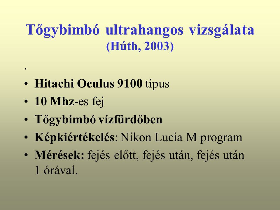 Tőgybimbó ultrahangos vizsgálata (Húth, 2003).