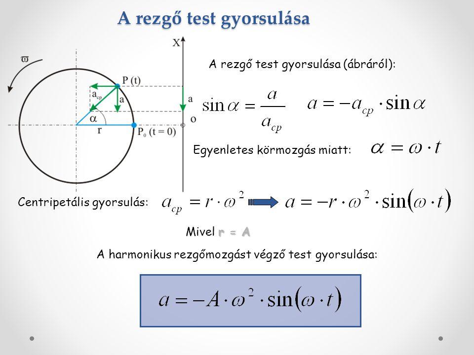 A rezgő test gyorsulása A rezgő test gyorsulása (ábráról): Egyenletes körmozgás miatt: Centripetális gyorsulás: r = A Mivel r = A A harmonikus rezgőmozgást végző test gyorsulása: