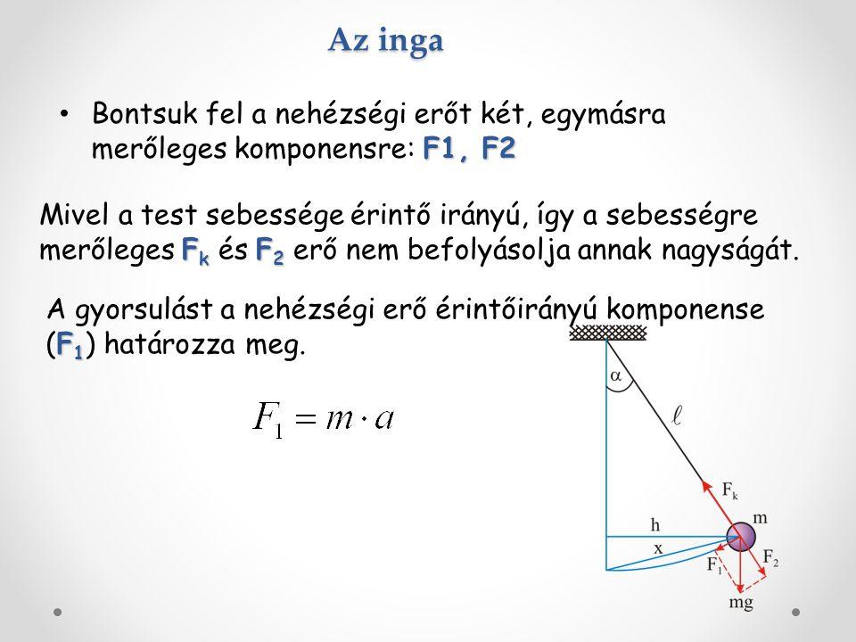 Az inga F1, F2 Bontsuk fel a nehézségi erőt két, egymásra merőleges komponensre: F1, F2 F k F 2 Mivel a test sebessége érintő irányú, így a sebességre merőleges F k és F 2 erő nem befolyásolja annak nagyságát.