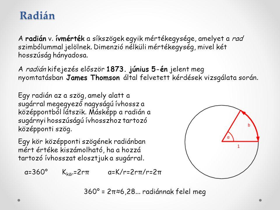 A radián v. ívmérték a síkszögek egyik mértékegysége, amelyet a rad szimbólummal jelölnek. Dimenzió nélküli mértékegység, mivel két hosszúság hányados