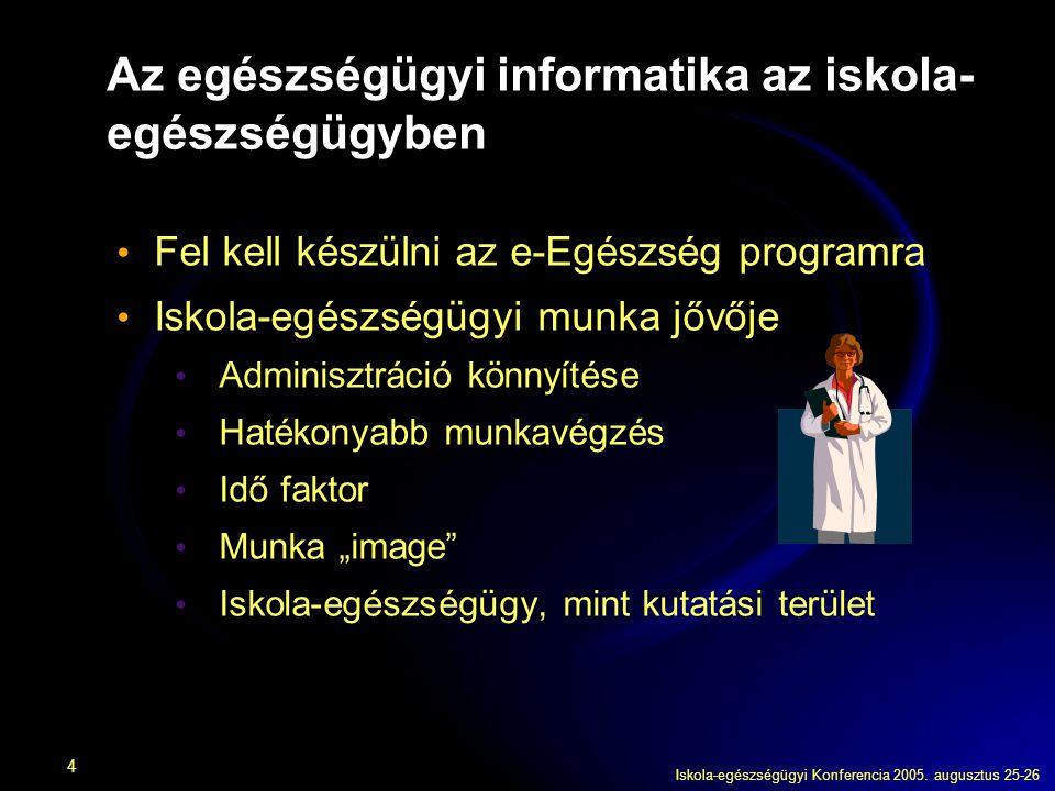 Iskola-egészségügyi Konferencia 2005. augusztus 25-26 4 Az egészségügyi informatika az iskola- egészségügyben Fel kell készülni az e-Egészség programr