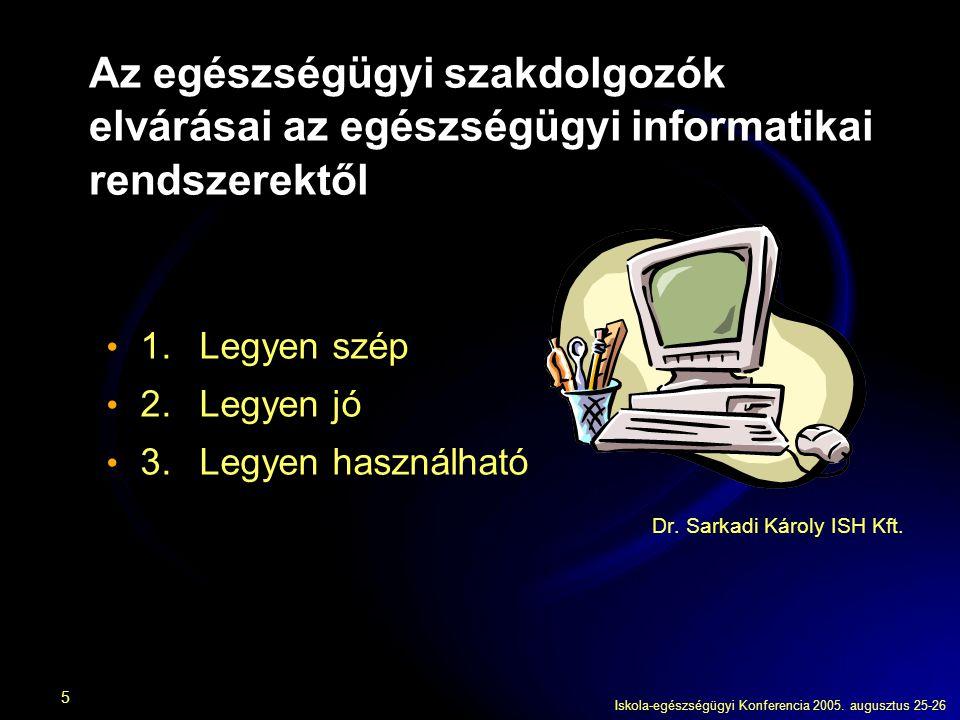 Iskola-egészségügyi Konferencia 2005. augusztus 25-26 5 Az egészségügyi szakdolgozók elvárásai az egészségügyi informatikai rendszerektől 1.Legyen szé