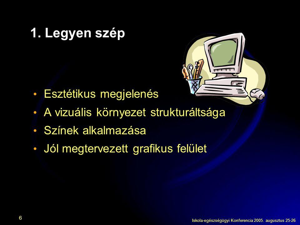Iskola-egészségügyi Konferencia 2005. augusztus 25-26 6 1. Legyen szép Esztétikus megjelenés A vizuális környezet strukturáltsága Színek alkalmazása J