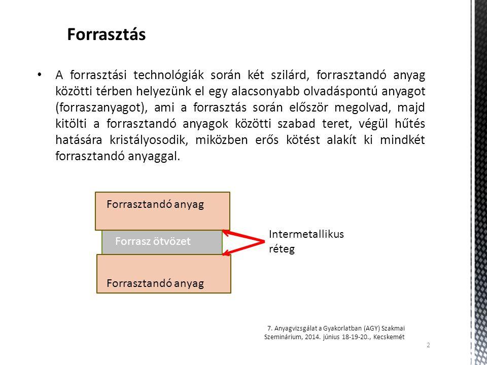 2 A forrasztási technológiák során két szilárd, forrasztandó anyag közötti térben helyezünk el egy alacsonyabb olvadáspontú anyagot (forraszanyagot),