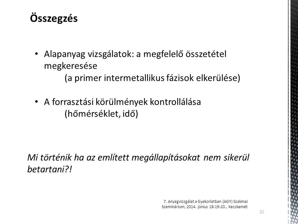 21 7. Anyagvizsgálat a Gyakorlatban (AGY) Szakmai Szeminárium, 2014. június 18-19-20., Kecskemét Összegzés Alapanyag vizsgálatok: a megfelelő összetét
