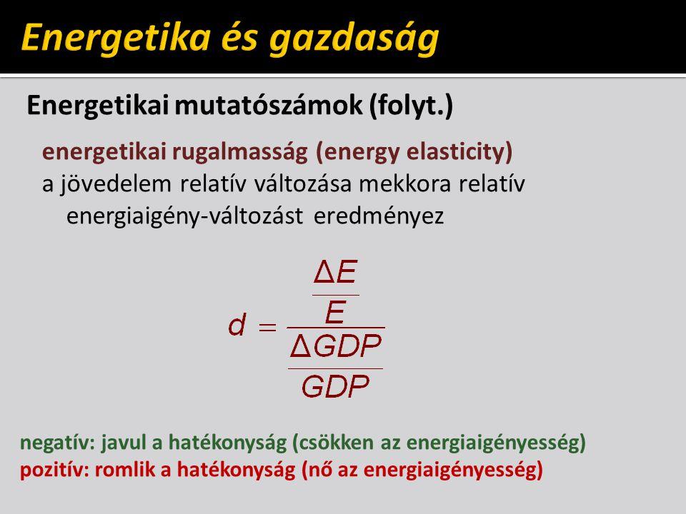 Energetikai mutatószámok (folyt.) energetikai rugalmasság (energy elasticity) a jövedelem relatív változása mekkora relatív energiaigény-változást eredményez negatív: javul a hatékonyság (csökken az energiaigényesség) pozitív: romlik a hatékonyság (nő az energiaigényesség)