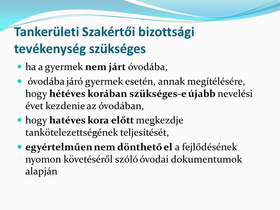 Tankerületi Szakértői bizottsági tevékenység szükséges ha a gyermek nem járt óvodába, óvodába járó gyermek esetén, annak megítélésére, hogy hétéves ko