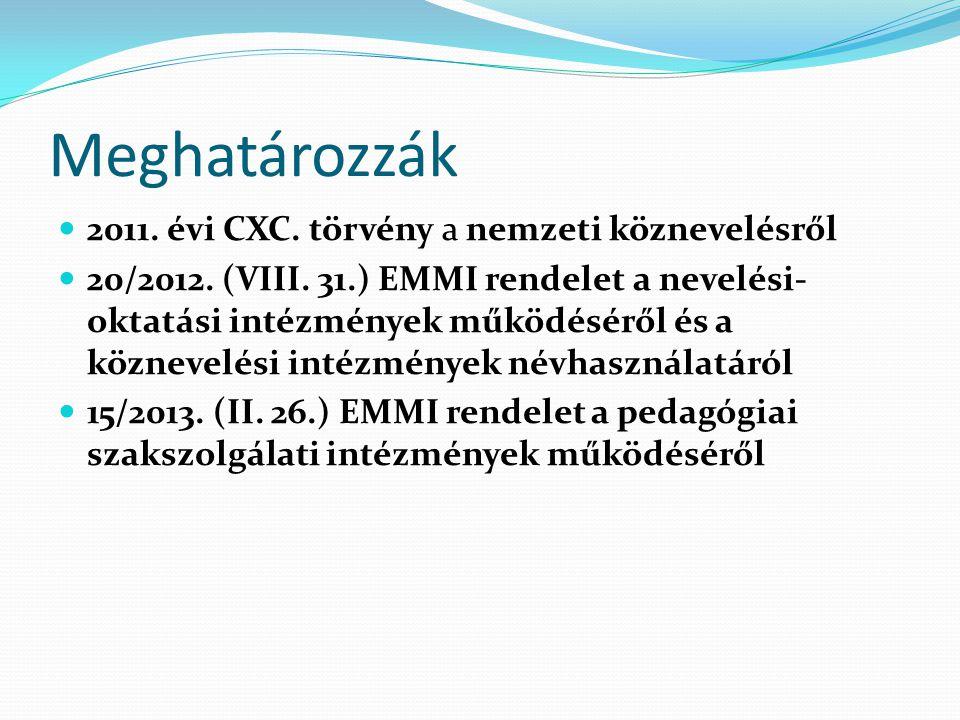 Meghatározzák 2011. évi CXC. törvény a nemzeti köznevelésről 20/2012. (VIII. 31.) EMMI rendelet a nevelési- oktatási intézmények működéséről és a közn