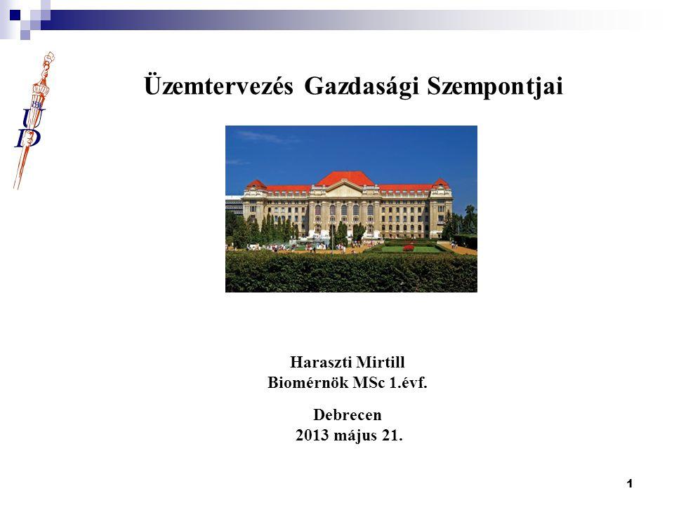 1 Üzemtervezés Gazdasági Szempontjai Haraszti Mirtill Biomérnök MSc 1.évf. Debrecen 2013 május 21.