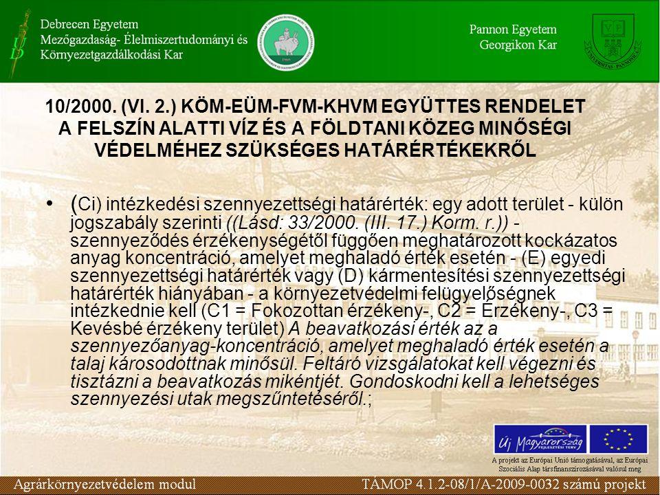 ( Ci) intézkedési szennyezettségi határérték: egy adott terület - külön jogszabály szerinti ((Lásd: 33/2000. (III. 17.) Korm. r.)) - szennyeződés érzé